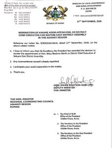 Akufo-Addo Reinstates Sekyere East DCE 1