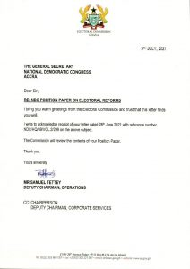 Mahama Lied Over NDC Proposals To EC 49