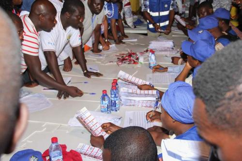 Counting of votes as polling agents looked on intently.