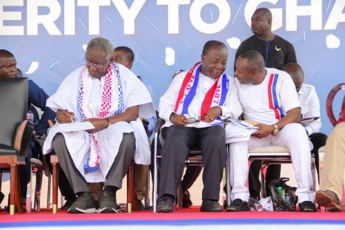 John Boadu (right) and Freddie Blay (middle) in a tete-a-tete whiles John Kuffour takes notes of events.